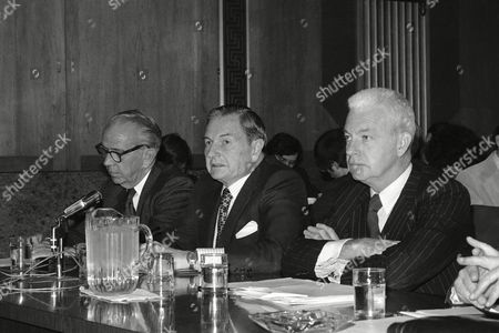 Ellmore C. Patterson, left, chairman of the board of Morgan Guaranty Trust Co., of New York, David Rockefeller, center, chairman of the board of Chase Manhattan Bank and Edward Palmer, right, chairman of the executive committee of Citibank testify before the Senate Banking Committee in Washington on . The panel is hearing testimony on the federal loan to New York City