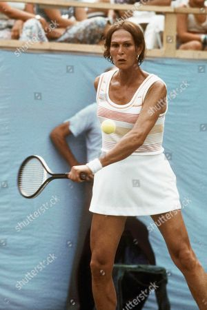 Renee Richards Tennis player Dr. Renee Richards, shown in action at stadium in Forest Hills, New York during U.S. Open tennis match on