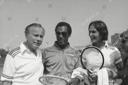 Renee Richards, Bill Cosby Jack Paar, Bill Cosby and Renee Richards at Forest Hills celebrity tennis tournament in New York on