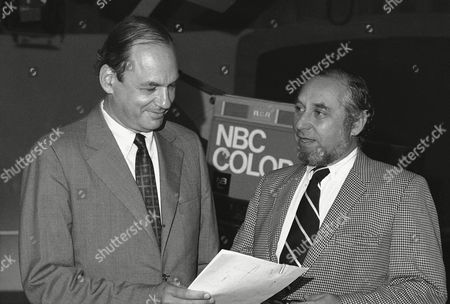 Newsman Edwin Newman, left, meets with Stuart Schulberg, executive producer of the Today Show after an interview with entertainer George Jessel. Newman cut short George Jessel after he referred to the New York Times and the Washington Post as Pravda during an interview on the NBC's Today Show on