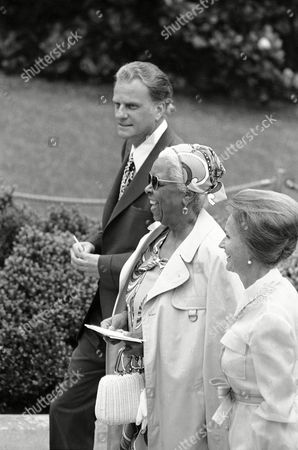 Stock Picture of Ethel Waters, Billy Graham, Ruth Graham Actress Ethel Waters is flanked by Evangelist Billy Graham and his wife uth Graham as they arrived at the White House in Washington to attend the wedding of Tricia Nixon and Edward Finch Cox