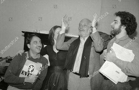 """Hal Prince, Harold Prince; Patti Lupone; Mandy Patinkin; Bob Gunton Director Hal Prince, second from right, is shown at rehearsal of musical """"Evita"""", in New York with performers in the production. From left are: Bob Gunton, who plays Juan Peron; Patti LuPone (face obscured), who plays Evita; Prince; and Mandy Patinkin who plays """"Che"""" Guevara, right"""