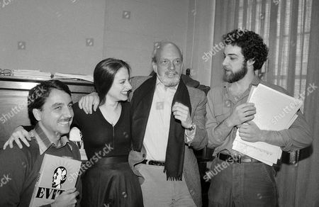 """Hal Prince, Harold Prince; Patti Lupone; Mandy Patinkin; Bob Gunton Director Hal Prince, second from right, is shown at rehearsal of musical """"Evita"""", in New York with performers in the production. From left are: Bob Gunton, who plays Juan Peron; Patti LuPone who plays Evita; Prince; and Mandy Patinkin who plays """"Che"""" Guevara, right"""