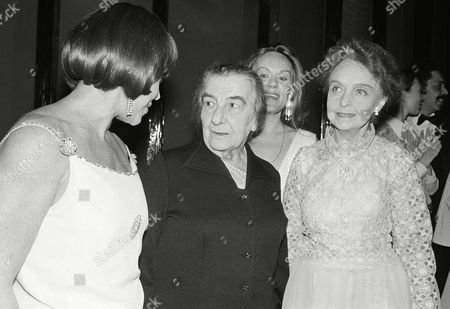 """Former Israeli Premier Golda Meir during a backstage at """"A Musical Jubilee"""" at the James Theater, in New York, . Meir is seen talking with from left to right: Patrice Munsel, Meir, Tammy Grimes, and Lillian Gish. Ms. Gish made her last Broadway appearance of her career in """"A Musical Jubilee"""