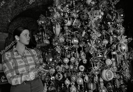 Harold Lloyd's granddaughter, Suzanne Lloyd Guasti, 21, looks over an ornament on the permanent Christmas tree inside the Harold Lloyd home in Beverly Hills in May 1973. Decorations are presents from friends and collected by Lloyd