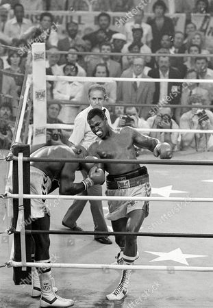 Shavers Holmes Heavyweight champion Larry Holmes lands a right to the head of challenger Earnie Shavers toward the end of their title fight in Las Vegas, Nev., Friday night, . Holmes defended his title with a TKO in the 11th round