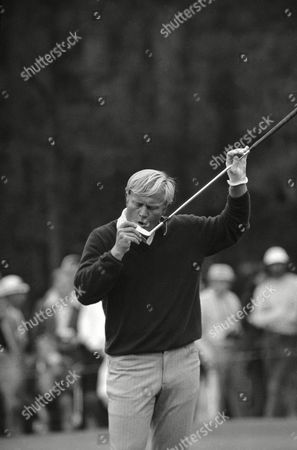 Jack Nicklaus Jack Nicklaus blows sand off of his putter during a Masters practice round on at the Augusta National Golf Club in Augusta, Georgia. Miller Barber made a shot from a sand trap covering Nicklaus with sand