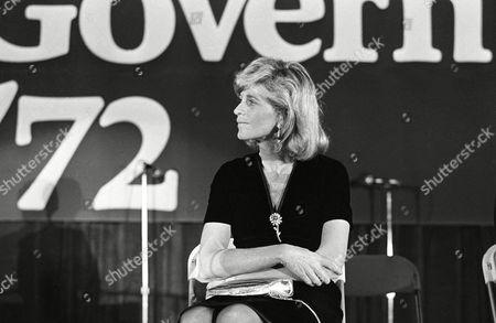 Jean Kennedy Smith listens as her brother Sen. Edward M. Kennedy introduces Sen. George McGovern at a fund-raising rally in Boston, Mass., on