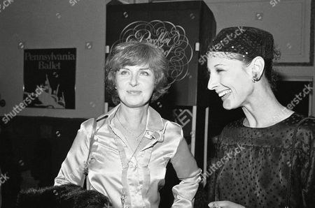 Stock Picture of Joanne Woodward, left, and Cynthia Gregory, of the American Ballet Theater, meet during the intermission of a performance of the San Francisco ballet at the opening of its New York season at the Brooklyn Academy of Music in New York on . Cynthia Gregory formerly danced with the San Francisco Ballet, the nation?s oldest ballet company. This is the ballet?s first New York season in 13 years