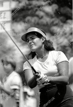 Stock Photo of NANCY LOPEZ LPGA golfer Nancy Lopez swings her club during the final round of the Lady Keystone Open in Hershey, Penn., on