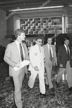 Stock Photo of Melvin Weinberg, center, walks from U.S. District Court in Brooklyn at New York, after he appeared as a witness for government prosecutors in the ABSCAM trial in New York. Weinberg discussed a tape of a meeting between him and Rep. Michael Myers, D-Pa., where Myers allegedly accepted a $50,000 ABSCAM payoff