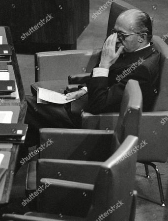 Israeli Premier Menachem Begin sits alone during Monday's parliament session, following resignation of his foreign Minister, Moshe Dayan in Jerusalem