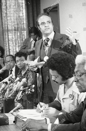 Dorothy Height, Kenneth Clark, Jesse Jackson, Bayard Rustin National civil rights leaders are shown at a press conference, after the Supreme Court ruled favorably in the Bakke case. From left; Dr. Kenneth B. Clark; Dorothy Height of the National Council of Negro Women; Vernon Jordan of the Urban League; Benjamin Hooks of the NAACP; the Reverend Jesse Jackson of Operation Push, and Bayard Rustin