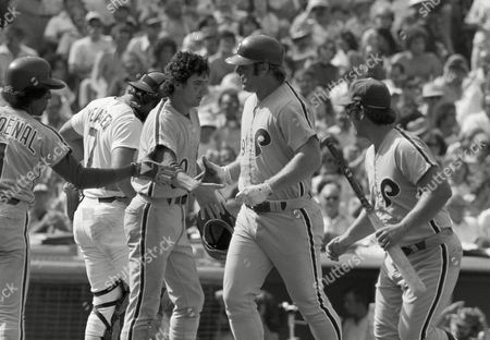 Greg Luzinski, Jose Cardenal, Larry Bowa Philadelphia Phillies slugger Greg Luzinski, right, is greeted by teammates Jose Cardenal (1) and Larry Bowa after hitting a two-run homer in the second inning of their National League playoff game in Los Angeles