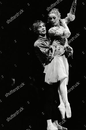 "Stock Picture of Ballet dancer Rudolph Nureyev lifts Patricia Ruanne of the London Festival Ballet during a dress rehearsal in New York for the British Ballet's American premiere of ""Romeo and Juliet"