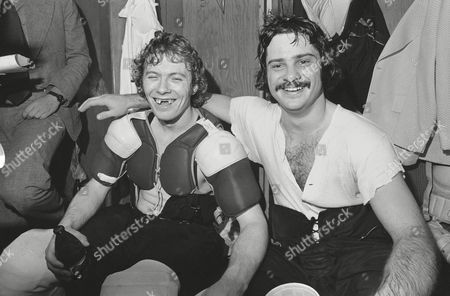 Bobby Taylor, Bobby Clarke Philadelphia Flyers goalie Bobby Taylor, right, with Bobby Clarke in the dressing room after the Flyers beat the Rangers in the semi-final round final of the NHL playoffs in Philadelphia on