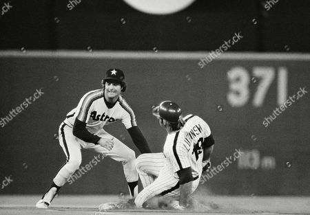 Phillies Greg Luzinski, right, arrives safely at second base before a tag by Craig Reynolds of Houston Astros in the fourth inning of a NL playoff game, Philadelphia, Pa. Luzinskis double to right field scored Mike Schmidt