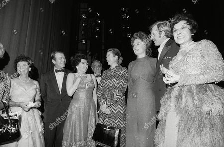 """Princess Grace, Grace Kelly Princess Grace of Monaco, the former actress Grace Kelly, in New York, visits the cast of the musical, """"Follies,"""" after seeing the matinee performance. From left: Gene Nelson, Yvonne Decarlo, unidentified bearded man, Princess Grace, Alexis Smith, John McMartin and Fifi D'Orsay. The former actress last appeared on Broadway in """"To Be Continued,"""" in 1952"""