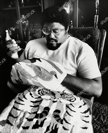 Rosey Grier Former Los Angeles Rams football player Roosevelt Grier works on needlepoint project in his Los Angeles apartment