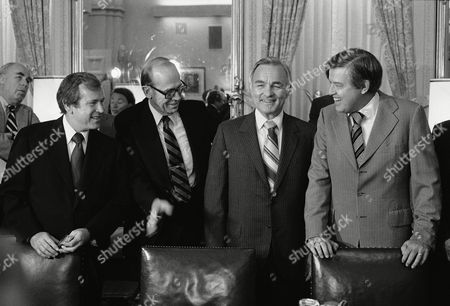 Stansfield Turner, Howard Baker, David Newsom, Frank Church Central Intelligence Agency Director Stansfield Turner meets with members of the Foreign Relations Committee, in Washington to report on the situation in Cuba is a closed session of panel. From left are: Howard Baker, R-Tenn., David D. Newsom, undersecretary of for political affairs, and Chairman Frank Church, D-Idaho