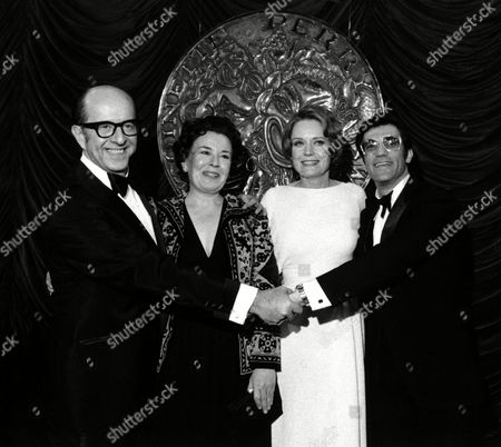 """Silvers Thompson Smith Gorman Tony award winners, from left, Phil Silvers, Sada Thompson, Alexis Smith and Cliff Gorman pose at the 26th Annual Tony Awards ceremony at the Broadway Theatre in New York City, . Silvers was named best actor in a musical for """"A Funny Thing Happened on the Way to the Forum""""; Thompson won best actress in the play """"Twigs""""; Smith won best actress in the musical """"Follies""""; and Gorman won best actor in the play """"Lenny"""