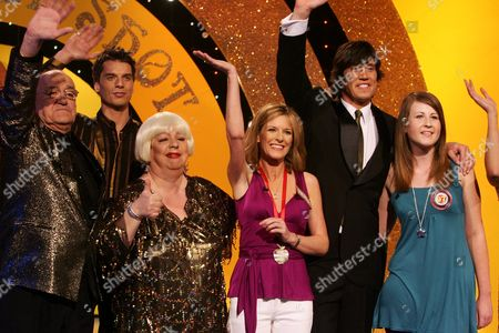 Stock Picture of Jim Bowen, Jo Brand, Andrea Catherwood, Vernon Kay and Verity.
