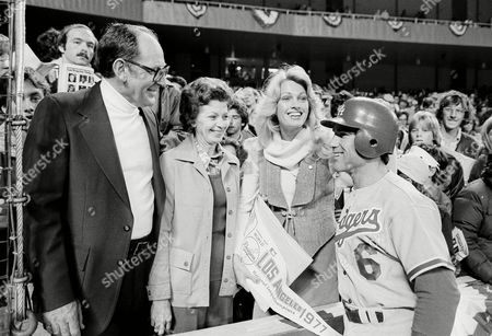 Stock Image of Steve Garvey, Cyndy Truhan, Cyndy Garvey, Joe Garvey, Mildred Garvey Los Angeles Dodgers Steve Garvey and his wife, Cyndy, second from right, talk with his parents, Joe and Mildred Garvey of Tampa, Fla., before the start of the second World Series game at Yankee Stadium in New York