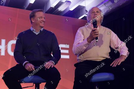 NFL Commissioner Roger Goodell, left, and television executive Dick Ebersol on stage during an NFL Fan Rally at the NFL House in Victoria House, in London, . Los Angeles Rams are due to play the New York Giants at Twickenham stadium in London on Sunday in a regular season NFL game
