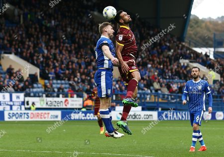 Steven Caulker of QPR and Tom Lees of Sheffield Wednesday during the Sky Bet Championship match between Sheffield Wednesday and QPR played at Hillsborough Stadium, Sheffield on 22nd October 2016
