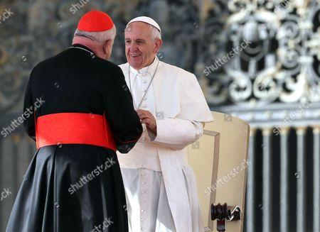 Cardinal Stanislaw Dziwisz greets Pope Francis