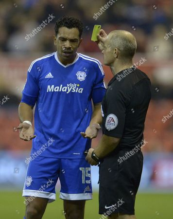 Kieran Richardson of Cardiff City is shown a yellow card during the Sky Bet Championship match between Nottingham Forest and Cardiff City played at the City Ground, Nottingham on 22nd October 2016