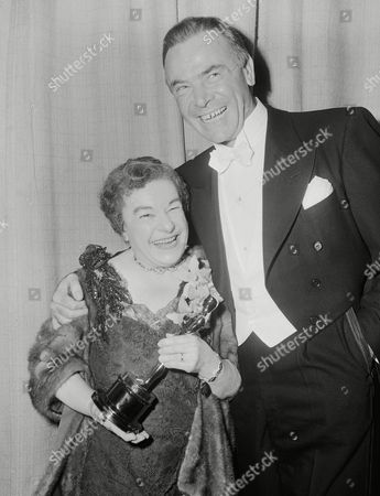 "Actress Josephine Hull, winner of ""Best Supporting"" category for her role in 'Harvey' with Dean Jagger, who presented her the Oscar on in Hollywood"