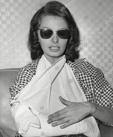 Sophia Loren Italian actress Sophia Loren waits to hear the report on X-rays at California Hospital after she sustained a possible arm fracture in a movie scene, in Los Angeles. Her studio said actor Steve Forrest fell on her arm while they were wrestling during a scene for the film ?Heller with A Gun.? A doctor said there may be a crack in the outer part of a bone