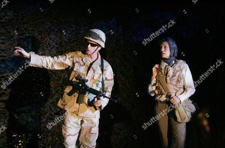 Dominic Jephcott (Checkpoint Soldier) and Harriet Walter (Sasha)