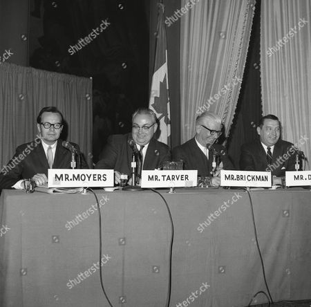 Mayors of various cities interview this panel of the American Newspapers Publishers Association at the Waldorf Astoria in New York, . The panel member are, left to right; Bill Moyers, Newsday, Garden City, N.Y; Jack Tarver, Atlanta Constitution and Journal; David Brichman, News, Malden, Mass.; and Francis L. Dale, Cincinnati Enquirer