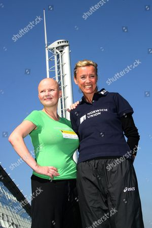 Gail Porter is put through her paces by former athlete Liz McColgan to promote the Norwich Union City v City 10k run at Glasgow's Science Centre. The run, which takes place on 3rd June, sees three cities, London, Liverpool and Glasgow competing against each other over the 10k course