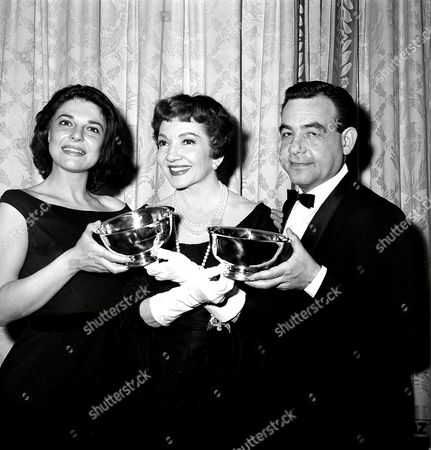 "Bancroft Colbert Bosley Claudette Colbert, center, presents American National Theater & Academy (ANTA) awards to actress Anne Bancroft, left, and actor Tom Bosley at a ceremony at the Astor Hotel in New York City, . The award is in recognition for outstanding contributions to the stage. Bancroft is performing in ""The Miracle Worker,"" and Bosley in ""Fiorello"
