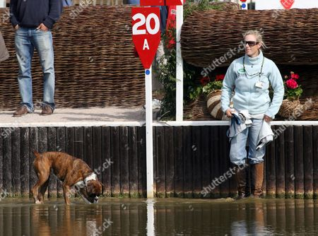 Zara Phillips inspects the water jump on the cross-country course at the Badminton Horse Trials in Gloucestershire. Zara competes in the second stage of the three-day-event tomorrow. Photo by Ian Jones