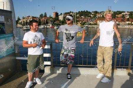 Michael 'Pancho' Locke, Lee Dainton and Matthew Pritchard of TV programme 'Dirty Sanchez'