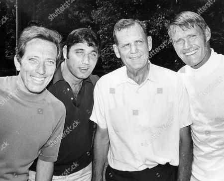 From left to right are: Andy Williams, Joe Namath, Bear Bryant and Chuck Connors, pose together in Atlanta to play in the pro-am prior to the Atlanta Classic golf tournament