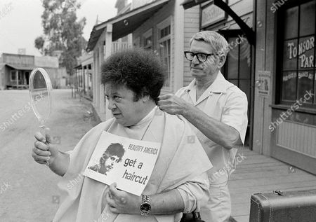 Marty Allen, Sol Goldstein Comedian Marty Allen, fuzzy-haired member of the comedy team of Allen & Rossi, has his hair styled by barber Sol Goldstein in Hollywood, Calif
