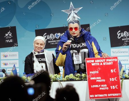 Ukraine's Verka Serduchka presenting the song 'Dancing Lasha Tumbai / Danzing', at a press conference during the rehearsals for the Saturday finals.