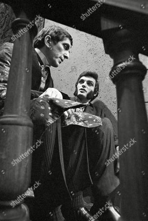 """Jonathan Frid, David Selby Jonathan Frid, who plays Barnabas Collins, left, and David Selby, who plays Quentin Collins, in the Gothic soap opera """"Dark Shadows"""