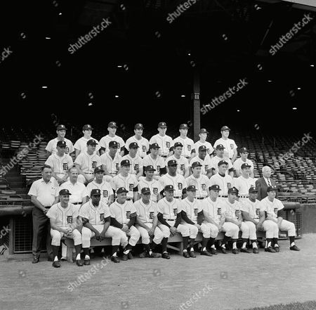 Detroit Tigers team shown in Detroit on - the American League Champions for 1968. Front row from left: Don Wert, John Wyatt, Tony Cuccinello, Wally Moses, Mayo Smith, Hal Naragon, John Sain, Ware Comer, Willie Horton and Mickey Lolich. Second row, from left: John Hand, Bill Behm, Julio Moreno, Jim Northrup, Ray Oyler, Earl Wilson, Fred Lasher, Don McMahon, Al Kaline, secretary Charlie Creedon Third row, from left: Dick Tracewski, Norm Cash; Eddie Nathews, Jim Price, Jon Warden, Denny McLain Gates Brown, John Hiller, Dick McAuliffe. Back row: Elroy Face, Bob Christian, Mickey Stanley, Joe Sparma, Daryl Patterson, Pat Dobson, Tom Matchick, Bill Freehan
