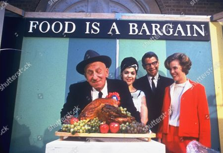 """Comedian Jimmy Durante, left, and Secretary of Agriculture Orville L. Freeman helped kick off the food industry's 1965 """"Food Is A Bargain"""" campaign at the U.S. Department of Agriculture here"""