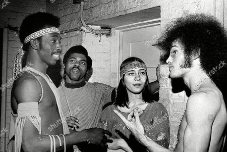 "Stock Photo of From left to right, Michael Smartt, Andre DeShields, Julienne Cinkowski and Richard Allmarck, all members of the cast of ""Hair,"" are shown in a photo in Chicago on"