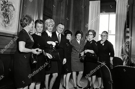 Seven West Virginia women, including five widows of miners who died in the Farmington mine disaster, call on Secretary of the Interior Walter Hickel in Washington to urge the strengthening of mine health and safety rules, . From left are:Nora Snyder, Mary K. Rogers, Frances Ferris, Secretary Hickel, Sara L. Kaznoski, Josephine Zogal, Laura Martin and Eugenia Kaznoski. All are widows of the November 1968 disaster except Mrs. Zogal and Eugenia Kaznoski