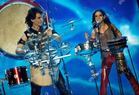 Bulgaria's representatives Elitsa Todorova and Stoyan Yankoulov performing the song 'Water'