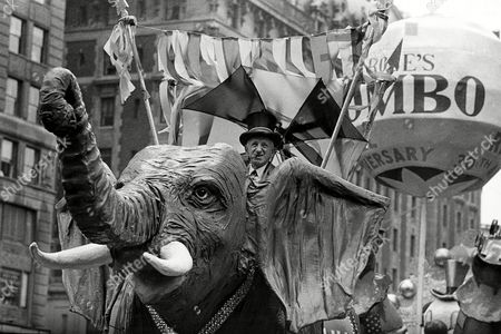 Durante Comedian Jimmy Durante rides on a Jumbo the elephant float during the annual Macy's Thanksgiving Day Parade in New York City on