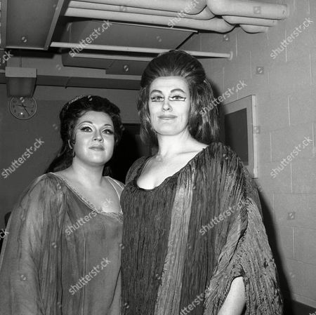 """Marilyn Horne, Joan Sutherland Marilyn Horne, left, of the U.S., and Joan Sutherland, of Australia, pose at intermission of their performance of the Opera """"Norma"""", New York. For Miss Horne, who played the role of Adalgisa, the performance marked her debut at the met. She received a standing ovation at the end of the third act. Miss Sutherland, renowned opera singer, performed the role of Norma"""